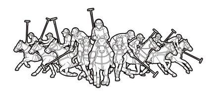 groupe de joueurs de chevaux de polo contour vecteur