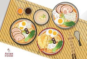conception de nourriture asiatique de nouilles ramen japonais
