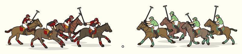 polo chevaux joueurs sport action vecteur
