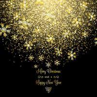 Fond de flocons de neige de Noël doré