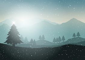 Paysage d'arbre de Noël d'hiver vecteur