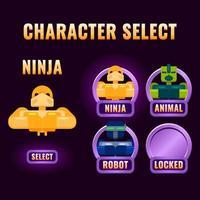 sélection de personnage d'interface utilisateur de jeu arrondi violet brillant pop up pour illustration vectorielle d'interface gui 2d vecteur