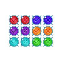 Ensemble de bouton d'interface utilisateur jeu de gelée brillante oui et non coches pour les éléments d'actif gui illustration vectorielle vecteur