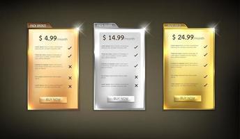 pack de tableaux de prix web vecteur