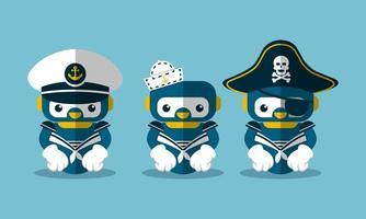 Illustration vectorielle pirate graphique et personnage de mascotte de robot marin vecteur