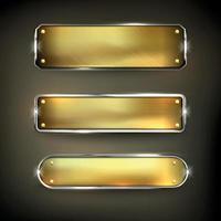 ensemble de boutons web en fer doré