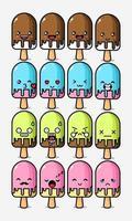 jeu de personnages de dessin animé mignon crème glacée