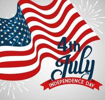 4 juillet joyeux jour de l'indépendance avec décoration de drapeau