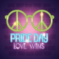 néon de jour de fierté avec des lunettes hippie vecteur
