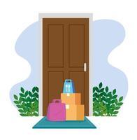 boîtes et sacs devant une icône de porte