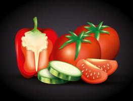 poivron rouge frais aux tomates et concombre tranché, légumes bio vecteur