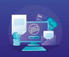 concept de banque en ligne avec ordinateur de bureau et icônes