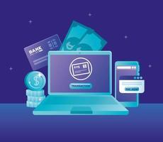 concept de banque en ligne avec ordinateur portable et smartphone et icônes