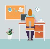 prévention des coronavirus au bureau à domicile avec une femme qui travaille vecteur