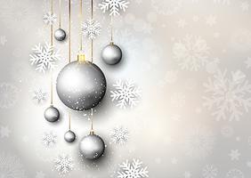 Fond de Noël avec des boules et des flocons de neige vecteur