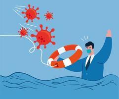 accident de coronavirus, effondrement de l'économie de Covid 19, homme d'affaires essayant de nager vecteur