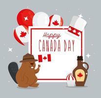 bonne fête du canada avec castor et décoration vecteur