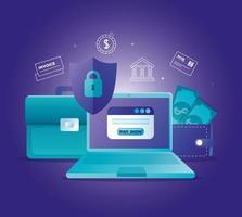 concept de banque en ligne avec ordinateur portable et icônes