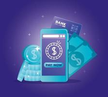 concept de banque en ligne avec smartphone et icônes vecteur