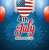 4 juillet joyeux jour de l'indépendance avec des ballons