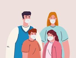 famille portant des masques pour la prévention du coronavirus vecteur