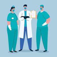 personnel médical avec des masques faciaux sur la pandémie de coronavirus vecteur