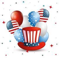 4 juillet joyeux jour de l'indépendance avec chapeau haut de forme et décoration