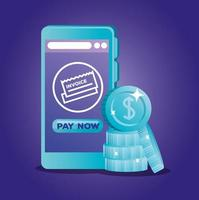 concept de banque en ligne avec smartphone et pièces de monnaie vecteur