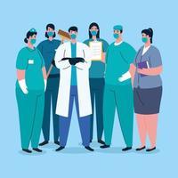 travailleurs essentiels avec des masques faciaux sur la pandémie de coronavirus vecteur