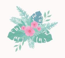 fleurs et feuilles sur des couleurs pastel