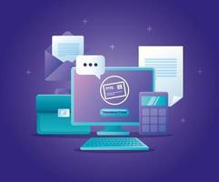 concept de banque en ligne avec ordinateur de bureau et icônes vecteur