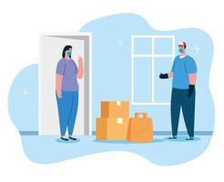 livraison sans contact sûre à domicile pour empêcher la propagation du coronavirus 2019 ncov