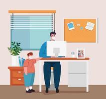 prévention des coronavirus au bureau à domicile avec un homme travaillant avec son fils vecteur