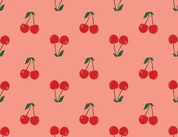 motif cerise rouge, fond rouge clair