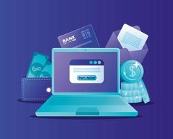 concept de banque en ligne avec ordinateur portable et icônes vecteur