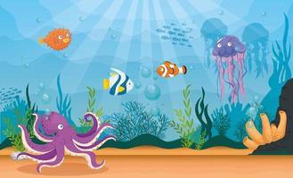 fond de vie marine vecteur