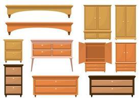 Meubles de chambre à coucher en bois rétro vector design illustration set isolé sur fond blanc