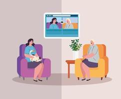 femmes en quarantaine lors d'un appel vidéo vecteur