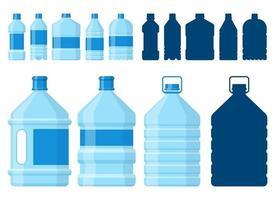 ensemble d'illustration de conception de vecteur de bouteille d'eau isolé sur fond blanc