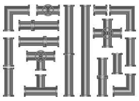 Ensemble d'illustration de conception de vecteur de tuyaux métalliques isolé sur fond blanc