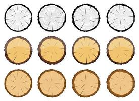 Coupe transversale de l'ensemble d'illustration de conception de vecteur d'arbre en bois isolé sur fond blanc