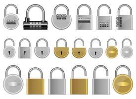 cadenas set vector design illustration set isolé sur fond blanc