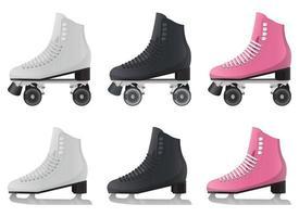 patins à glace et patins à roulettes vector illustration design ensemble isolé sur fond blanc