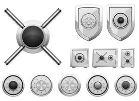 Ensemble d'illustration de conception de vecteur de serrure à combinaison sûre isolé sur fond blanc