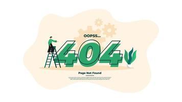 illustration de design plat moderne de la page d'erreur 404. vecteur