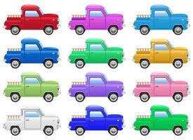 illustration de conception vecteur voiture pick-up rétro isolé sur fond blanc