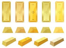 jeu d'illustration de conception de vecteur de barre d'or isolé sur fond blanc