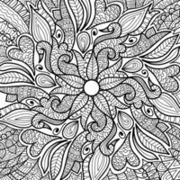 doodle page de livre de coloriage design henné pour adultes et enfants. décoratif rond blanc et noir. modèles de thérapie anti-stress orientaux. enchevêtrement zen abstrait. illustration vectorielle de yoga méditation. vecteur