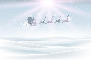 Paysage d'hiver avec le père Noël volant dans le ciel vecteur