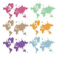 ensemble de carte du monde en pointillé de vecteur